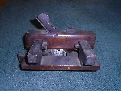 Wooden early plane two handled vintage BH elaborate carpenter