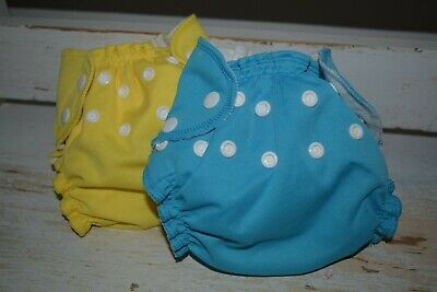 3 Apple Cheeks Size 1 - Cloth Diapers Pocket Diapers. Blue, Yellow, Wing It