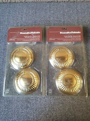 Vtg BRASS Curtain Tie Backs Large Round MEDALLIONS Lot 4 New Jcpenney NOS
