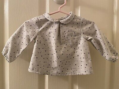 Zara Mini Collection Girls Gray Star Long Sleeve Button Back Blouse 1-3 Mos NWT