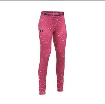 NWT Under Armour Girls Size XL Hot Pink Exercise Athletic Leggings Heat Gear