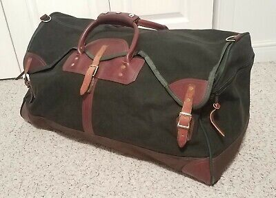 """ORVIS Battenkill Large Green Canvas & Leather Duffle Bag 28"""" EUC Luggage Travel"""