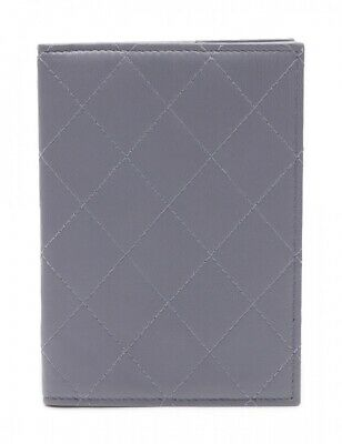 Auth CHANEL Notebook Cover Materasse Blue Gray Leather used from Japan