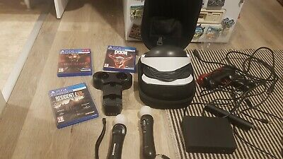 Sony PlayStation 4 PSVR VR Headset(V2)+2 Move controllers+3 Games+And Gun+ Case