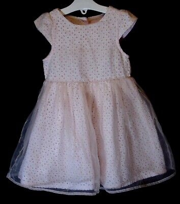 Baby Girls Primark Pale Pink Broderie Anglaise Mesh Party Dress Age 18-24 Months