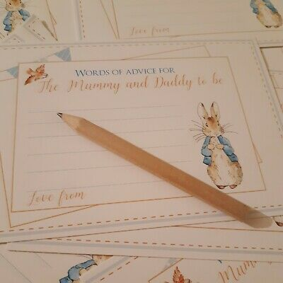 Baby Shower Games Advice For Mum To Be Cards blue peter rabbit boy girl x 10
