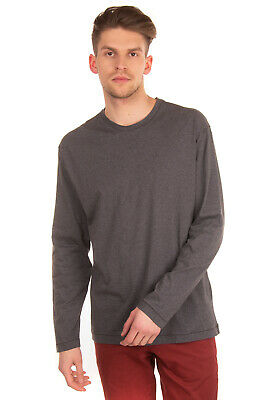 HILTON T-Shirt Top Size XL Melange Effect Long Sleeve Crew Neck Made in Italy