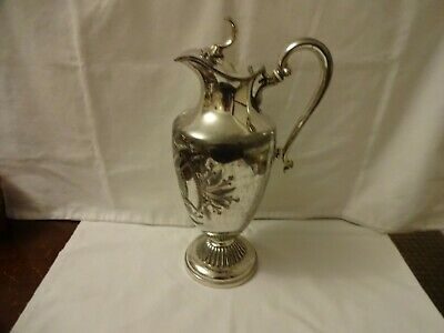 ANTIQUE SILVER PLATED ENGRAVED CLARET JUG HEIGHT 30 cm
