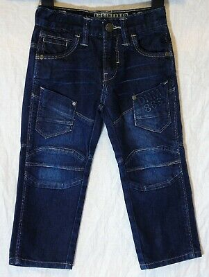 Boys Matalan Dark Indigo Blue Denim Panelled Cargo Utility Jeans Age 3 Years
