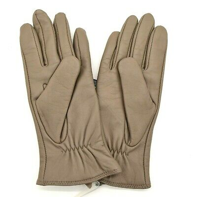 Charter Club Womens Lined Leather Gloves Size L Gray Touch Screen Technology NWT