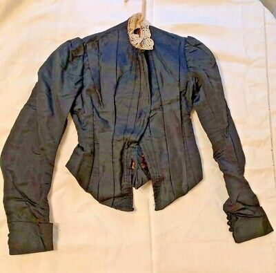 Victorian Antique Black Hand Stitched French bodice Woman's Jacket