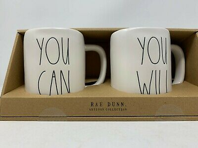 Rae Dunn  You Can & You Will Coffee Tea Mug Ivory with Black  Colored Letters