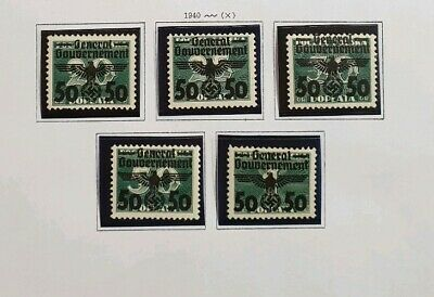 Germany Poland Occupation 1940 vf MINT General Government Set of 5 WWII Reich
