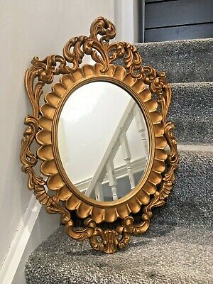 Vintage Heavily Gilded Ornate Gold Plastic Italian Mirror Rococo Regency Style