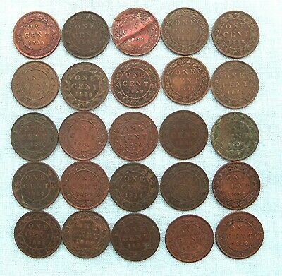 Lot of 25 Canadian Large Cents