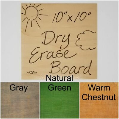 10 x 10 Wooden Dry Erase Boards in Various Colors