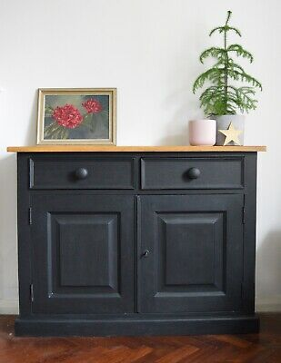 Solid Pine Sideboard, Hall Cupboard With Lock & Key Finished In Chalk Paint