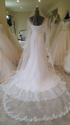 1T Cathedral Wedding Veil With Lace Edge (8 Ft Long) - White