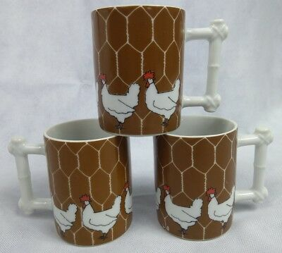 3 Dennis Kyte Design Studio Chicken Coffee Mugs