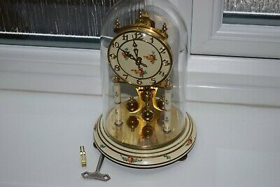 Vintage Kundo Anniversary/400 day Floral Design Clock with Glass  Dome Key