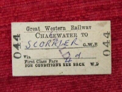 Vintage Great Western Railway (GWR) Chacewater Scorrier 044 1st Class  fc79a