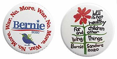 Bernie Sanders Peace Antiwar 2-Pack Campaign 2020 Full-Size 2.25-inch Buttons