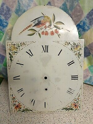 """Antique Longcase Clock Arch Dial 12"""" x 17 1/2"""" With Movement Parts For Spares"""