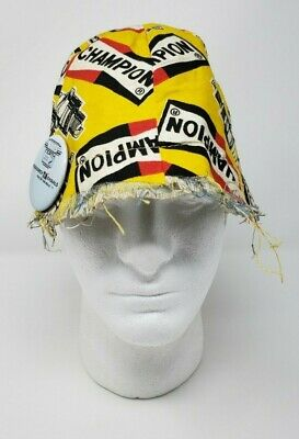 Vintage Champion Spark plug Bucket Hat YELLOW with Button