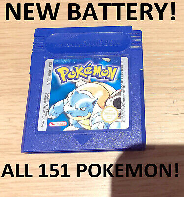 Genuine Pokemon Blue Version + New Battery Working Save + All 151 Gameboy Color
