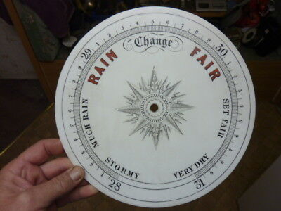 "Excellent Old Aneroid Barometer 10"" Milk Glass Dial- Free Post (Mg)"
