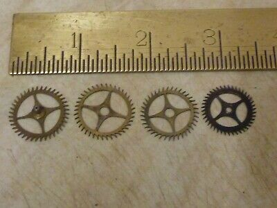 4 Useful Old French Clock Escapewheels- -(Es)  Free Uk Post