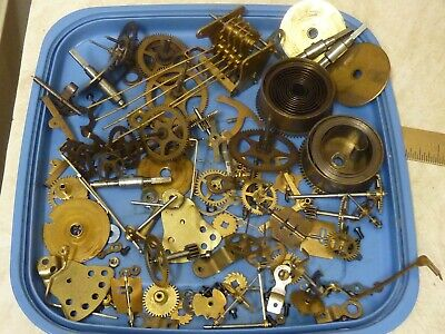 Useful Lot Used Mantle-Bracket Clock Type Movement Parts--Spares -- (Bc)
