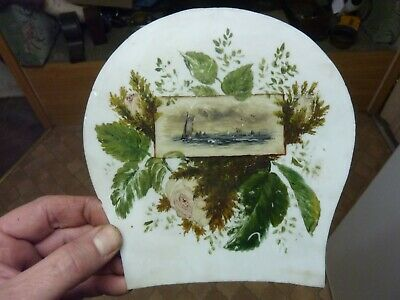 Old-Antique Milk Glass Painted Clock Case ? Tablet