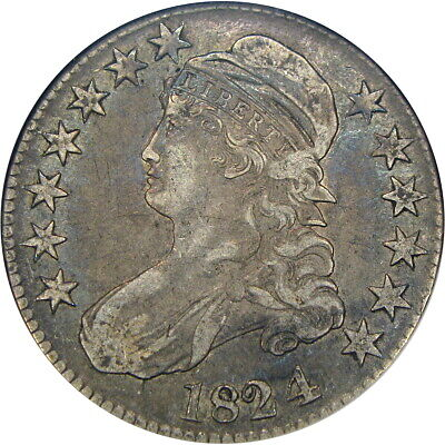 """1824/4 50C """"Old"""" Anacs Xf40 O-110 Capped Bust ~ Lovely Original Overdate!"""