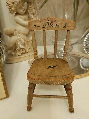 """antique Primitive Folk Art Doll Chair Hand painted Wood 1882 mary white 8"""""""