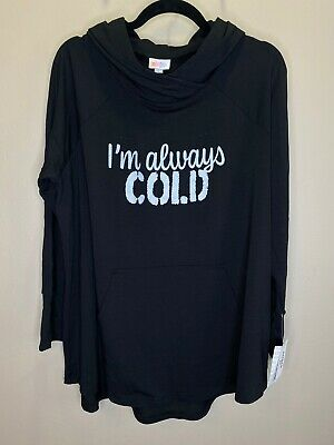 "LuLaRoe XL Amber - Hacci Light Hoodie #2453 - ""I'm Always Cold"" on Solid Black"