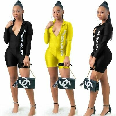 Women Long Sleeves Zipper Letter Print Bodycon Club Party Casual Short Jumpsuit