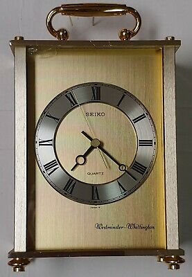 Seiko quartz carriage brass clock with Westminster and Whittington chimes.