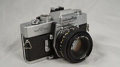 Minolta SRT 102 35mm camera with MD 50mm 1:2 lens in great shape