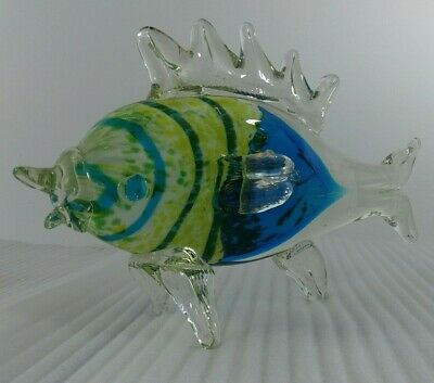 Murano Art Glass Hand Blown Large Tropical Fish Sculpture Blue & Yellow 11""
