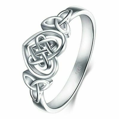 Women 925 Sterling Silver Celtic Knot Heart Ring Band Size L N P R T
