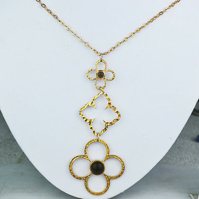 """Smoky Quartz rose gold plated flower necklace 925 Sterling Silver 28"""" Jewelry 16"""