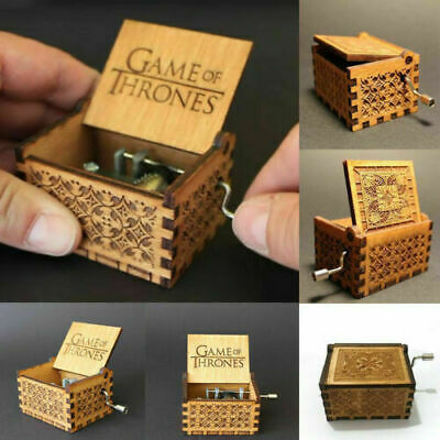 Game of Thrones Hand Crank Music Box Engraved Wooden Winter Is Coming
