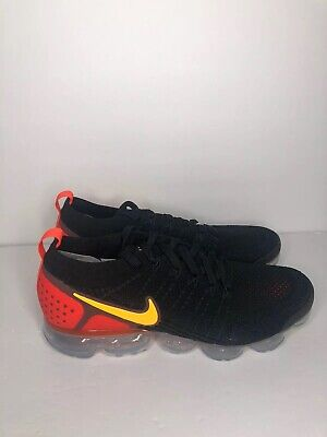 Nike Air VaporMax Flyknit 2 Black/Laser Orange Sz Mens 10.5 [942842-005]
