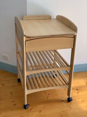 Baby change table with drawer and lockable casters