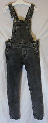 Girls H&M Mid Grey Denim Faded Vintage Look Full Length Dungarees Age 6-7 Years