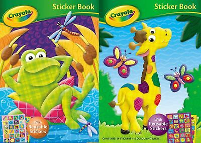 Crayola Activity Sticker Colouring Book Frog Giraffe 16 Pages Reusable Stickers