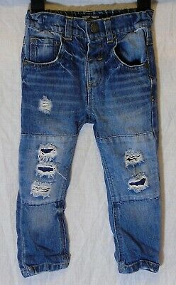 Baby Boys Next Mid Blue Whiskered Distressed Ripped Denim Jeans Age 18-24 Months