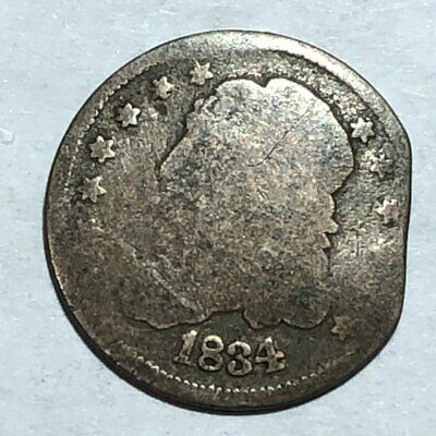 1834 Capped Bust silver U.S. half dime. Good detail. damaged. #m1