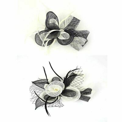 New Two Tone Feather Comb Clip Hair Fascinator Headband Wedding Royal Ascot Race